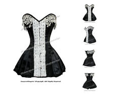 Full Steel Boned Heavy Lacing Satin Overbust Burlesque Corset Skirt #8417-A-SA