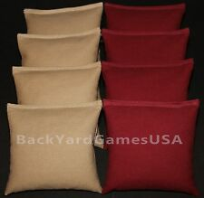 ALL WEATHER CORNHOLE BEAN BAGS Khaki & Maroon Plastic Resin Filled WATERPROOF