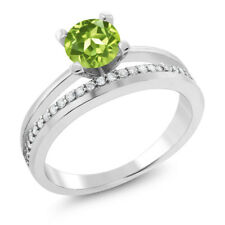 1.15 Ct Round Green Peridot 925 Sterling Silver Ring