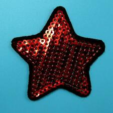 1 Star Sequins Iron on Sew Patch Applique Badge Embroidered Biker Motor Cute Red