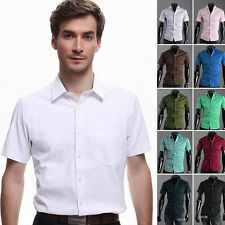 Mens Luxury Short Sleeves Shirt Slim Fit Casual Formal Stylish Dress Shirts Tops