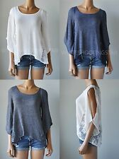 NWT HOLLISTER HCO WOMENS Fountain Valley Lace Back Fashion Top Sweater