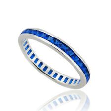 September Birthstone Ring - 925 Sterling Silver - Sapphire CZ Eternity Band NEW