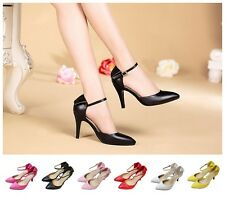 Simple Style Elegant Pointed-toe Leather Ankle Strap Women's Mid Heel Pump Shoes