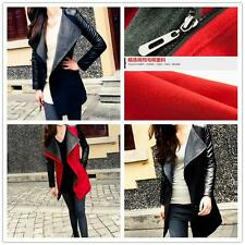 Hot New Korean Style Hit Color Slim Woolen Warm Women V-neck Long Coat  C399