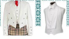 Brand New Scottish Kilt Jacket Prince Charlie & Vest White 100% Barathea Wool