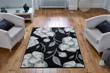 BLACK CREAM Easycare Modern Contemporary Floral Rug Runner S- Large Size 30%OFF