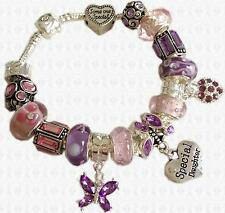 PINK & LILAC Personalised Charm Bead Bracelet Ladies and Girls with GIFT BOX