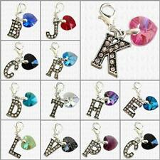 SWAROVSKI Elements Heart & SPARKLE Initial Alphabet Letter ~ CLIP On Charm Bead