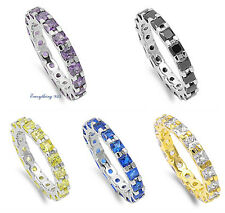 Sterling Silver 925 ETERNITY CZ STONES DESIGN ANNIVERSARY RINGS 3MM SIZES 5-10