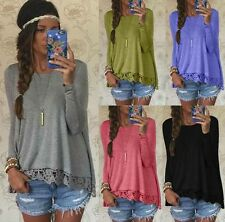Fashion New Arrive! Womens Ladies Long Sleeve Lace Casual Shirt Tops Blouse Lace