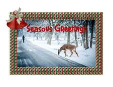 Custom Made T Shirt Christmas Seasons Greetings Snow Scene Deer Seasonal Winter
