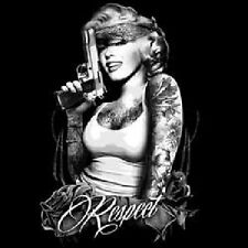 Marilyn Outlaw Arms Crossed with Tats BLack Bandana GUN Pain Respect T-Shirt
