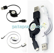 Universal Micro USB A to USB 2.0 B Male Retractable Data Sync Charger Cable Cord