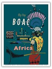 Africa African Native Vintage Airline Travel Art Poster Print