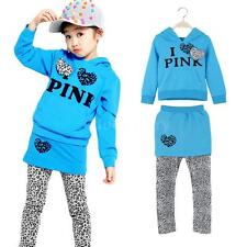 Cute Baby Girls Kid Letter Print Leopard Splicing Hoodie Culottes Sets 2-9Y 8G8S