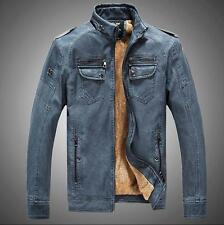 mens fashion leather stand collar motorcycle villus cowboy jacket retro coat D80