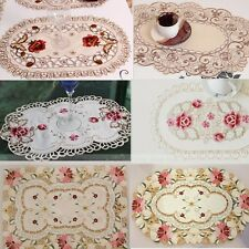 yazi Embroidered Flower Cutwork Dining Party Table Placemats Doily Mat 4Pcs