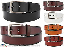 "MEN'S NEW CASUAL DRESS JEANS FASHION GENUINE LEATHER BELT W/ BUCKLE 1 1/2"" WIDE"