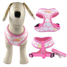 Cute Soft Pink Small Pet Dog Puppy Harness Leash Lead Set Safety Heart Print