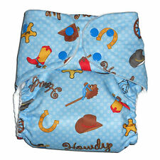 Cloth diaper Pocket  with 1 pc Insert- Blue Cowboy