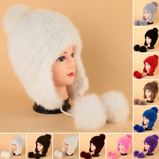 Fashion Women Real Knitted Farms Mink Fur Hat Winter Fur Cap Hats Headgear Soild