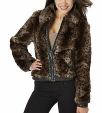 NEW Womens Rocawear Leopard Fur Coat Faux Fur Jacket Small