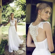 Charming White/Ivory Chiffon and Lace Beach Wedding dresses Simple Bridal Gown