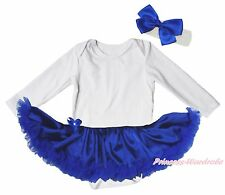 Plain White Long Sleeve Bodysuit Royal Blue Satin Girl Baby Dress Set NB-18Month