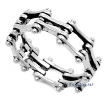 Sterling Silver 925 LADIES MENS BIKE CHAIN DESIGN SILVER RING 9MM SIZES 4-13