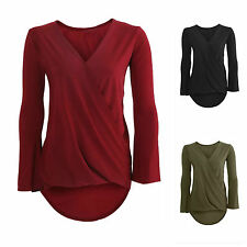 NEW WOMENS LADIES SLINKY PLAIN V NECK DRAPE WRAP CROSS OVER DIP HEM TOP BLOUSE