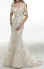 Hot Sale Mermaid Sleeves V Neck Luxury Appliques Mermaid Wedding Dress Custom