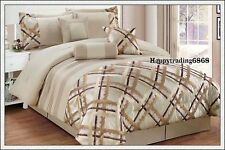 Latte Gold Jacquard Pintuck 7pc * KING QUEEN Comforter Set + Valance +3 Cushion