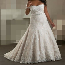 Attracting Plus Size Strapless Neckline Wedding Dresses Bridal Gown Custom Made
