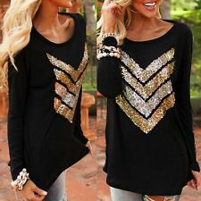 Womens Tops Blouse Long Sleeve Shirt Casual Loose T-Shirt Sequins Arrow Coat S87
