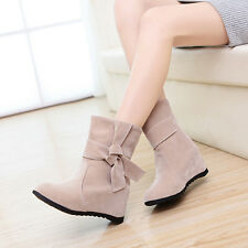 Women's inner Heel Med heel Bow Skid Proof Bow Boots shoes US All size F156