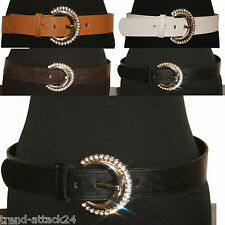 Wide elegant Leather Imitation Belt with fine Crescent Metal Rhinestone Buckle