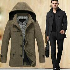 Fashion Mens Detachable Hooded Coat Jacket Warm Stand Collar Casual Wool Peacoat