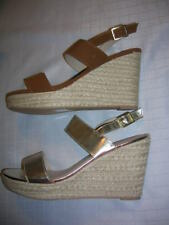 Womens Shoes (size 12,13)  Wedge Platform Strappy Espadrille Comfort (Tan,Gold)