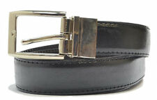 Mens New Bonded Leather Reversible Belts with Metal Buckle - Black / Brown