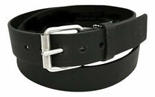 Mens Leather Jeans Belt with Silver Roller Buckle 38mm Width