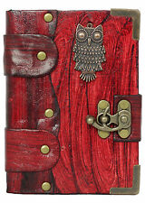 Flat Owl Pendant Red Brown Leather Journal Notebook Diary Sketchbook Handmade