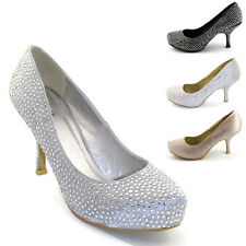 NEW WOMENS SATIN DIAMANTE LADIES MID PLATFORM BRIDAL WEDDING PROM SHOES SIZE 3-8