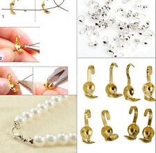 100/300Pcs  New Silver Gold Plated Metal Crimp End Caps Beads For Jewelry Makin