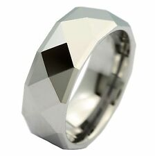 Tungsten Carbide Wedding Ring Multi Facet Mirror Polish 8mm Mens Band Jewelry