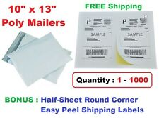 COMBO 1-1000 10x13 Poly Mailers Plastic Envelopes Mailing Bags + Shipping Labels