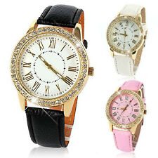 Bling Crystal New Women Girl Luxury Faux Leather Strap Analog Quartz Wrist Watch