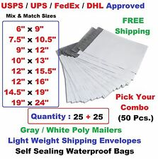 Pick Your Combo 50 (25+25) Poly Mailers Shipping Envelopes Plastic Mailing Bags
