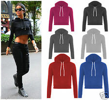 New Ladies Fleece Long Sleeve Crop Top Pullover Hooded Sweatshirt Cropped Hoodie