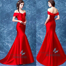 Red Mermaid Bridal Dress Formal Evening Dresses Party Prom Wedding Dresses 6-16